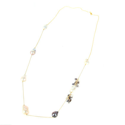 Freshwater Baroque Pearls with Onyx beads Necklace