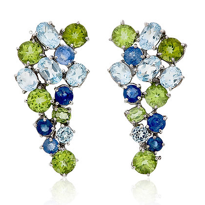 Blue Topaz, Peridot and Blue Sapphire Cluster Earrings