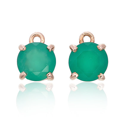 Round Cut Green Chalcedony Drops