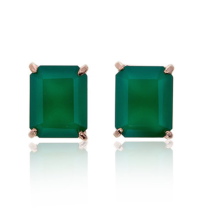 Emerald Cut Green Chalcedony Studs