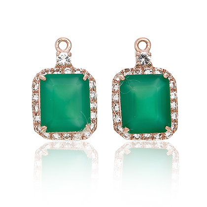 Emerald Cut Green Chalcedony with White Topaz Pavé Drops