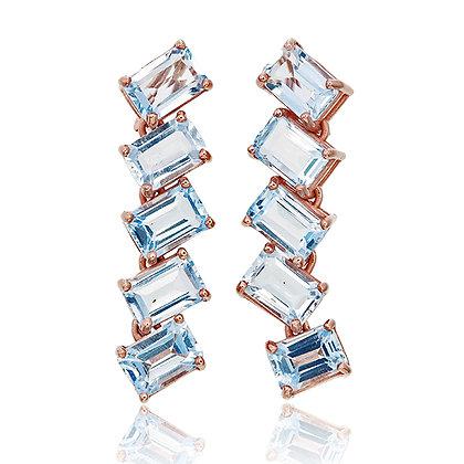 Blue Topaz Parallel Dangling Earrings