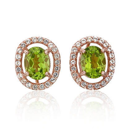 Oval Cut Peridot with White Topaz Pavé Studs