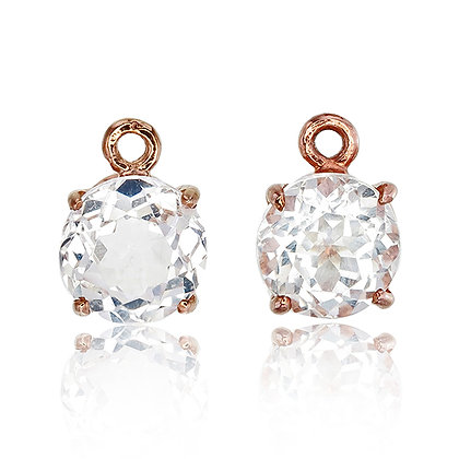 Round Cut White Topaz Drops