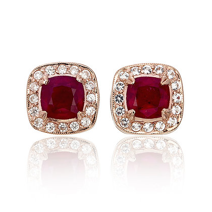 Cushion Cut Ruby with White Topaz Pavé Studs