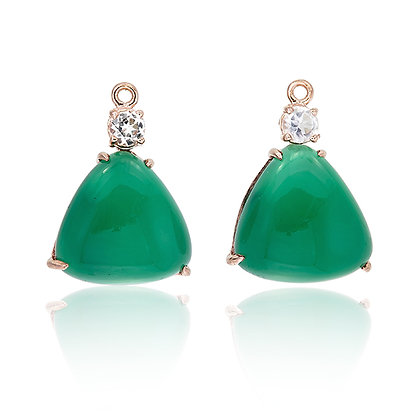 Triangle Green Chalcedony with White Topaz Accent Drops