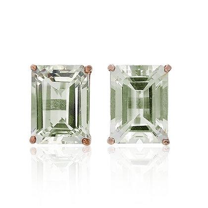 Emerald Cut Green Amethyst Studs