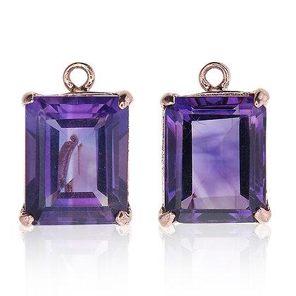 Emerald Cut Purple Amethyst Drops