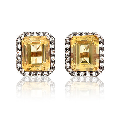 Emerald Cut Citrine with White Topaz Pavé Studs