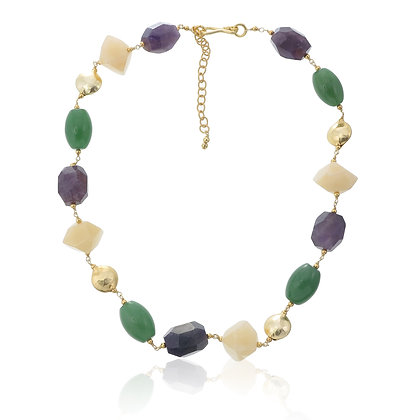 Amethyst, Aventurine and Yellow Jade Choker Necklace