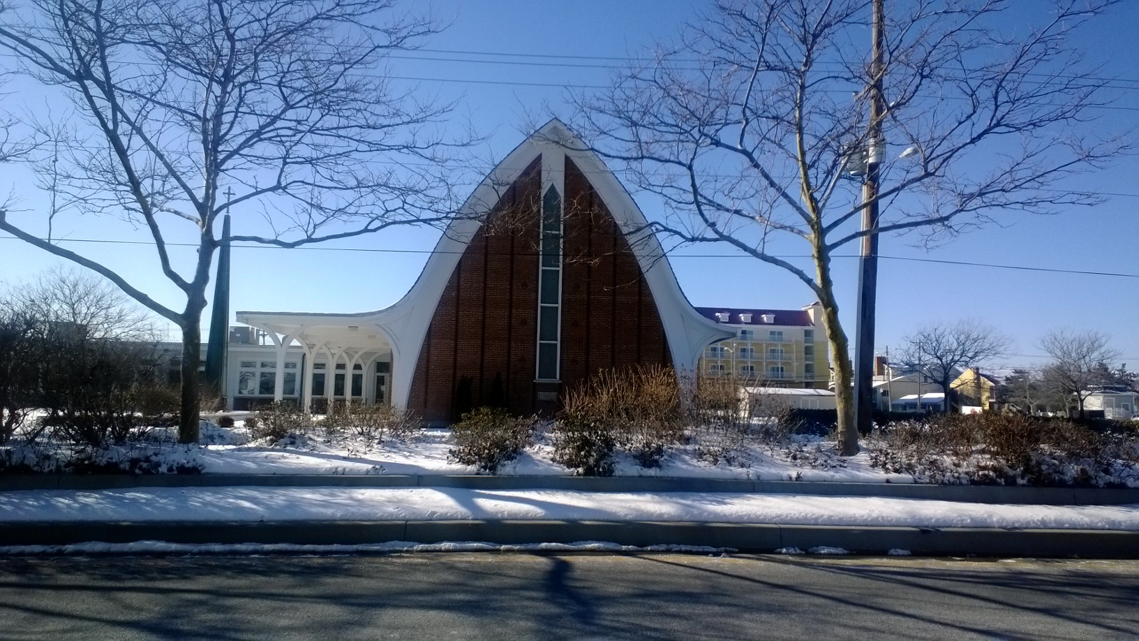 Church in winter with snow