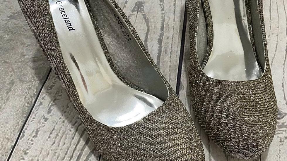 Womens / Ladies Graceland Silver Gold Sparkle High Heel Shoes Size 5 Excellent