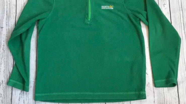 Boys / kids green regatta 1/4 zip fleece jacket size 11-12