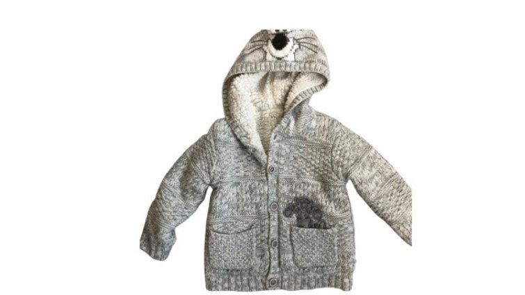 Boys George Disney Grey Fur Lined Cardigan Age 12-18 Years Excellent Condition