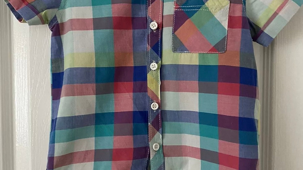 Boys Next Multi Coloured Check Short Sleeve Shirt Age 1.5-2 Years Immaculate