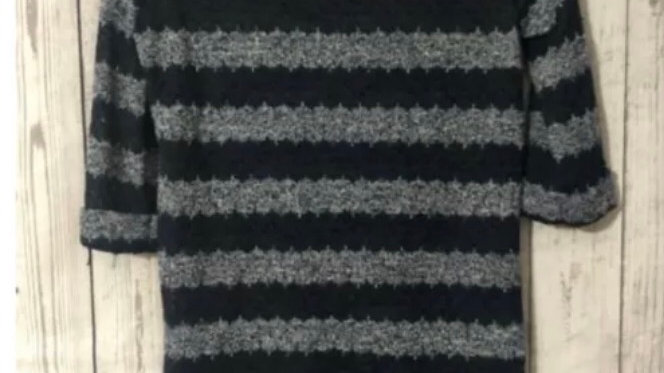 Women's Ladies New Look Crochet Style 3/4 Sleeve Jumper Blue Size 10 Immaculate