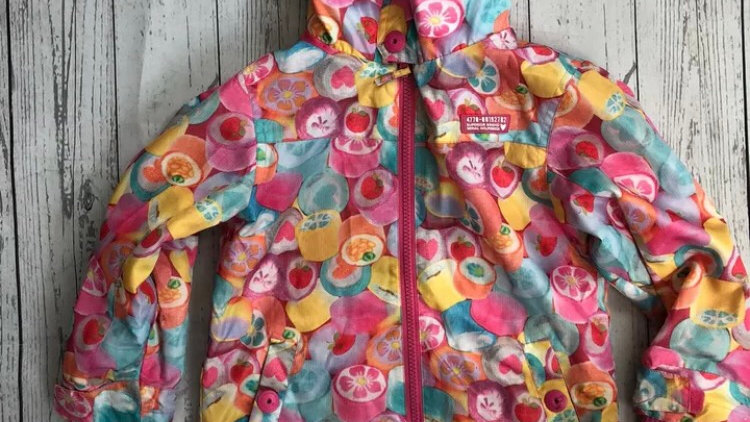 Girls Next Fruit Print Coat Fleece Lined Age 2-3 Years Good Condition