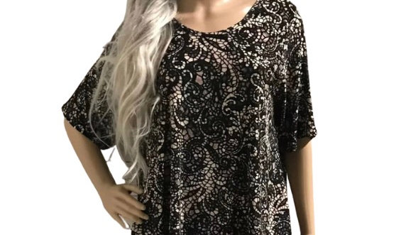 Womens / Ladies Hotdog Black Mixed T-Shirt Tunic Top Size 12/14 New With Tags