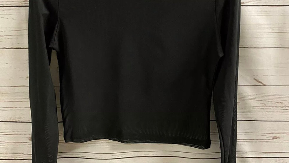 Womens / Ladies Primark Black Mesh Cropped Long Sleeve Top Size XS - Immaculate