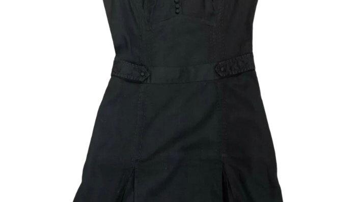 Womens / Ladies Ted Baker Black Cotton Dress Size 1 Uk 8 - Excellent Condition