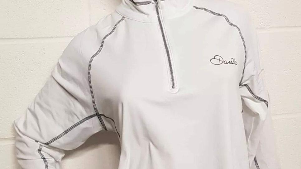 Womens / Ladies Dare2b White Stretch Core Ilus Technology 1/4 Zip Top Size 18