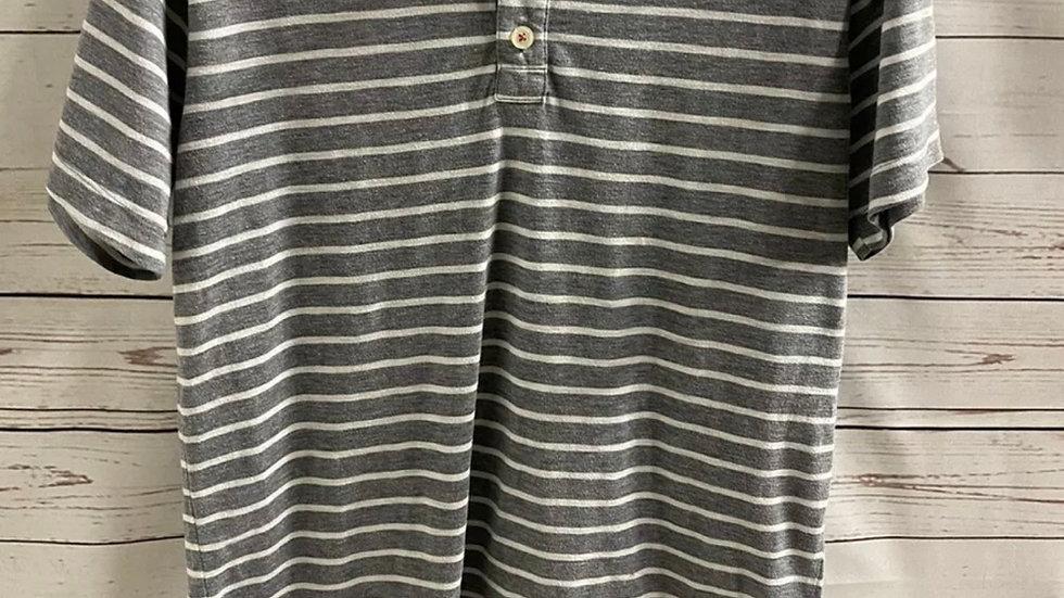 Mens Gap Grey & White Stripe T-Shirt Size Medium - Excellent