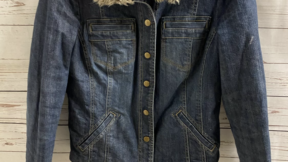 Womens / Ladies Principles Denim Jacket With Faux Fur And Light Padded Size 10