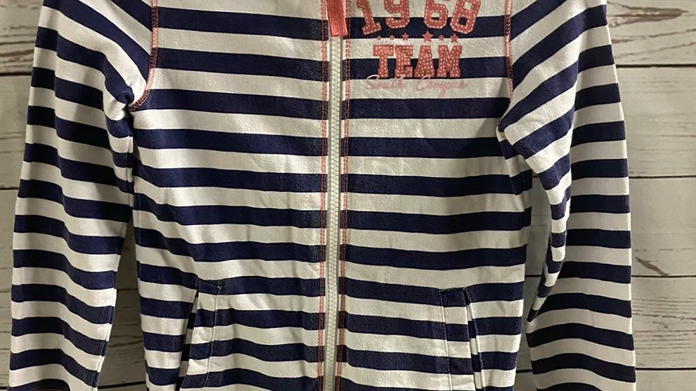 Girls F&F Stripe Hoodie Full Zip Jacket Age 8-9 Years Excellent