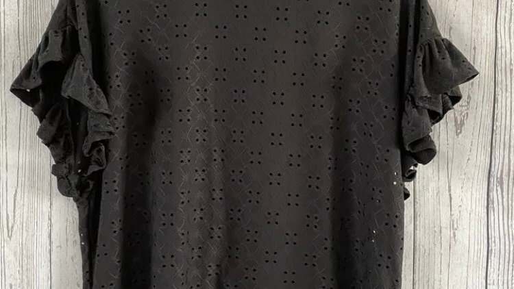 Womens / Ladies New Look Black Floral See Through Hole Top Size 8 Immaculate