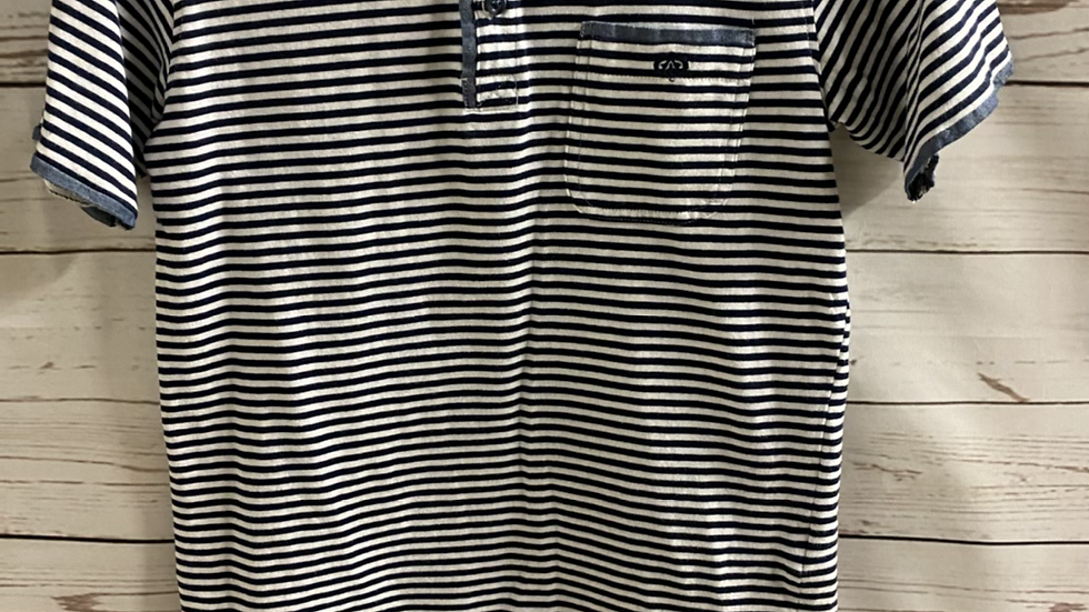 Boys Next Signature Blue Stripe Polo T-Shirt Age 7 Years Excellent Condition