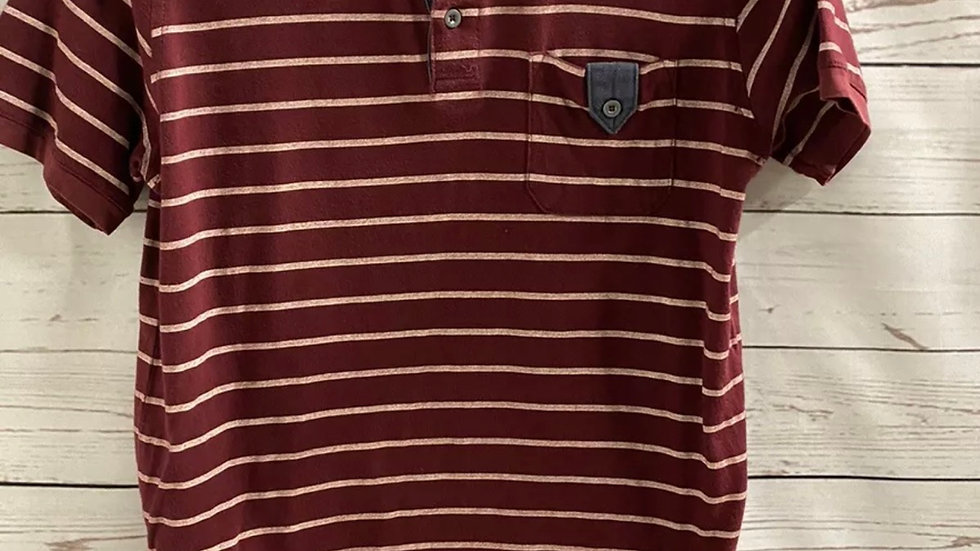 Boys River Islans Burgundy Stripe Polo Top Age 9-10 Years Immaculate