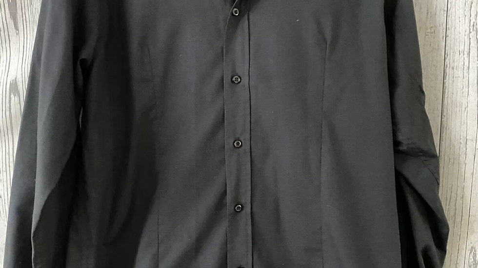 Mens Jones Black Long Sleeve Cuff Link Shirt With Cuff Links Size XL Immaculate