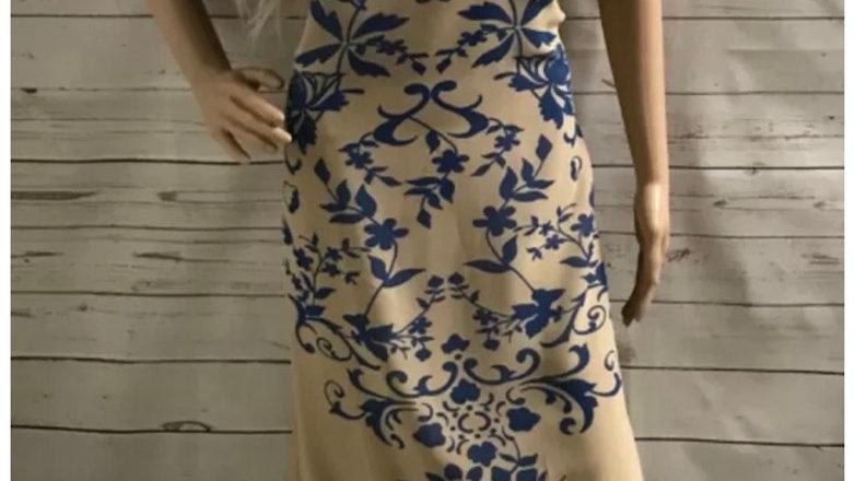 Womens / Ladies George Beige & Blue Short Sleeve Dress Size 20 Immaculate