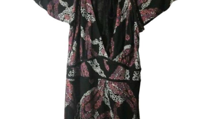 Women's / Ladies Warehouse Short Sleeve Tunic Blouse Top V Neck Size 12