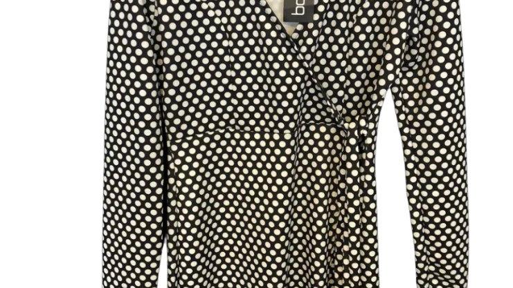 Womens / Ladies Boohoo Black White Polka Dot Dress Size 14 New With Tags
