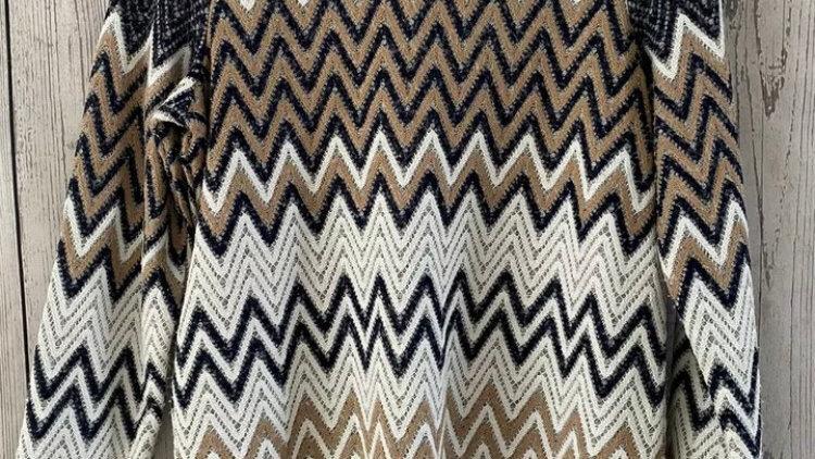 Womens / Ladies TU Brown Blue Mix Zig Zig Jumper Size 10 Excellent Condition
