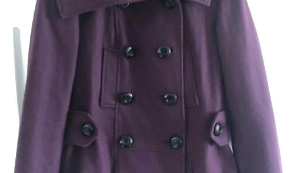 Women's / Ladies New Look Winter Wool Button Coat Purple Size Uk 10 Immaculate