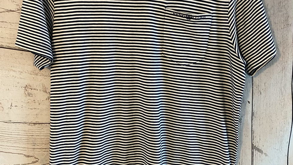 Mens Henri Lloyd Blue White Stripe T-shirt Size Medium - Excellent Condition