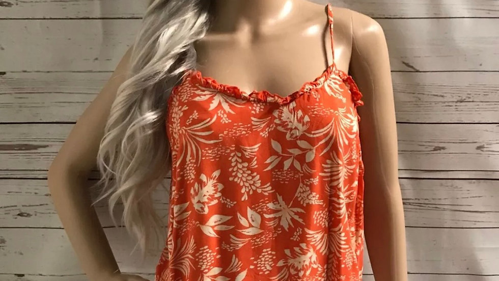 Women's / ladies New Look orange and white floral vest top size 10
