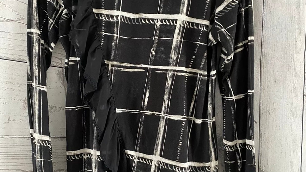 Womens / Ladies Next Black & White Square Long Sleeve Top Size 6 Excellent