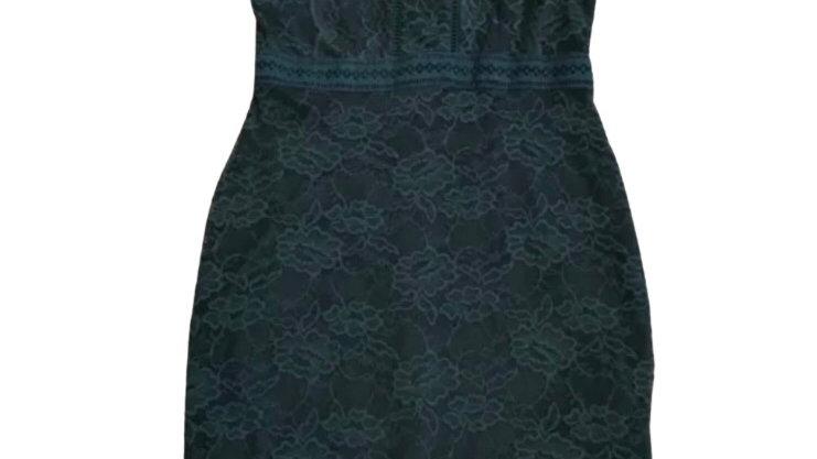 Women's / ladies top shop green lace sleeveless dress size 10 petite