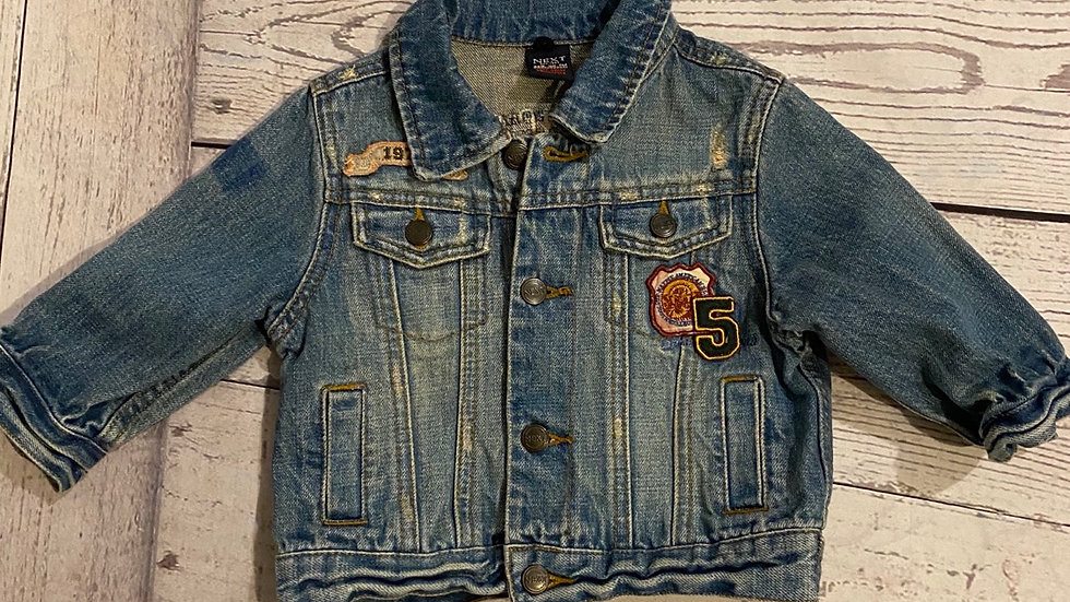 Boys Next Blue Denim Jacket Age 6-9 Months Excellent Condition.