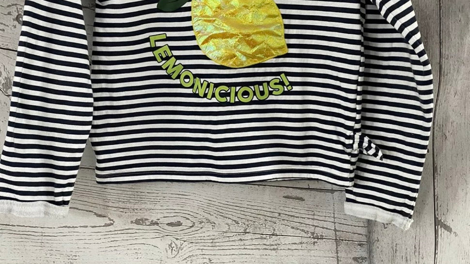 Girls M&Co Stripe Lemon Cropped Jumper Age 9-10 Years Immaculate Condition
