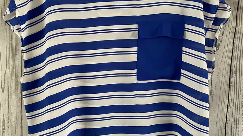 Womens / Ladies Next Blue White Stripe Blouse Top Size 14 Immaculate