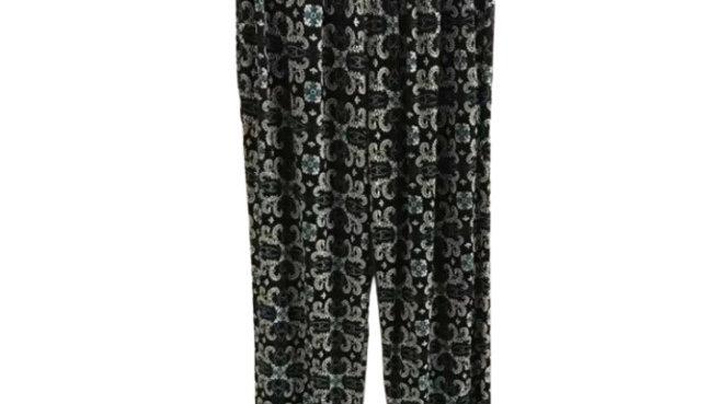 Women's / ladies casual flow trousers black/green patterned pants size M/L