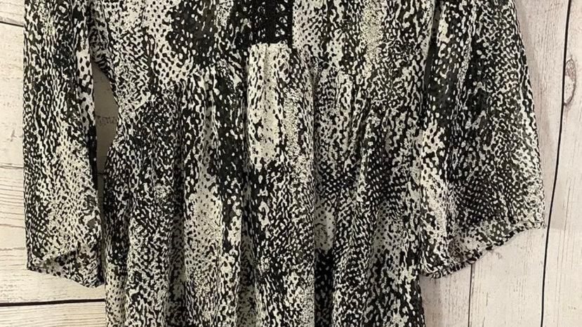 Womens / Ladies Marks & Spencer Black White Mix Kaftan Blouse Size 8 New & Tags