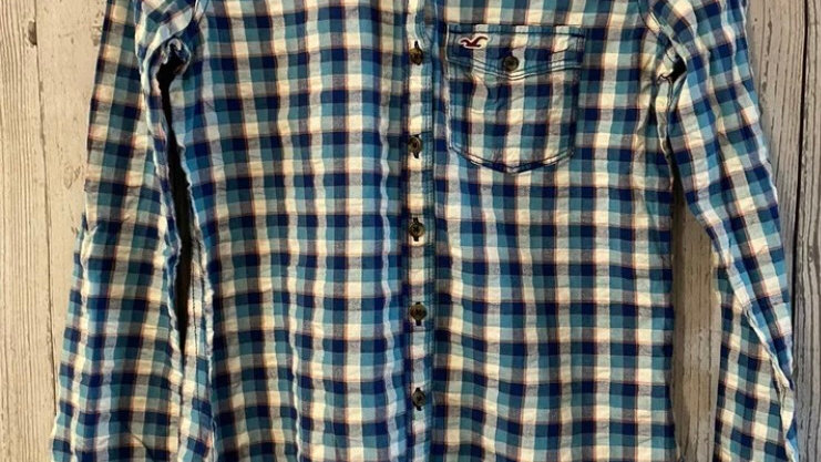 Womens / Ladies Hollister Blue Check Long Sleev Shirt Size XS - Immaculate