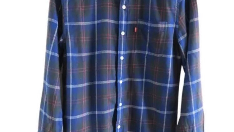 Mens Levis Blue Check Long Sleeve Shirt Size Small - Excellent Condition