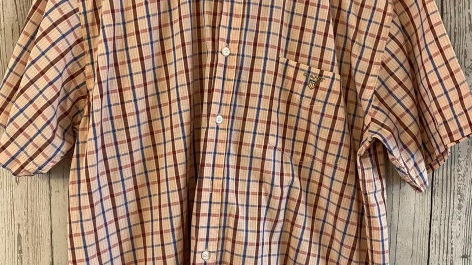 Mens GANT Pink Check Short Sleeve Short Size XL - Excellent Condition