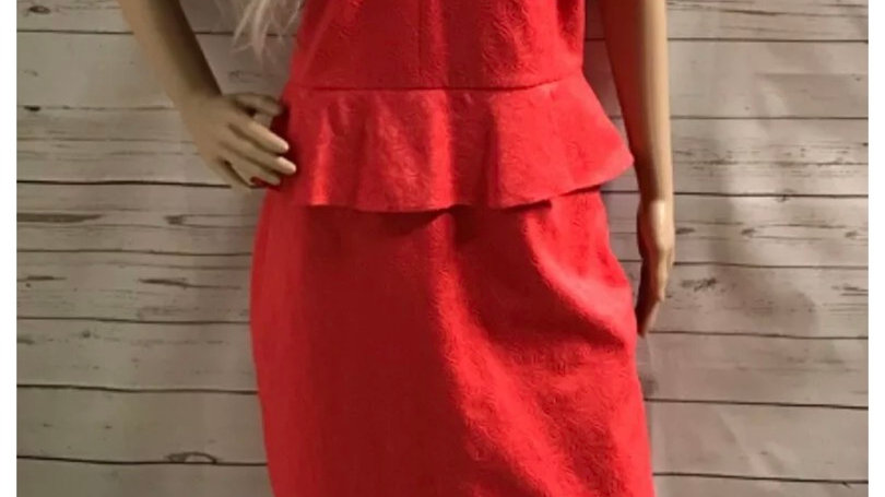 Womens / Ladies Next Coral Peplum Dress Fully Lined Size 18 Immaculate Condition